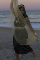 (Kyra Rosa Photographer) Tags: sunset sky black beach gold necklace sand waves vibrant egypt style jewelry diana egyptian earrings morel sheer blackdress headpiece jewelrey egyptianstyle dianamorel