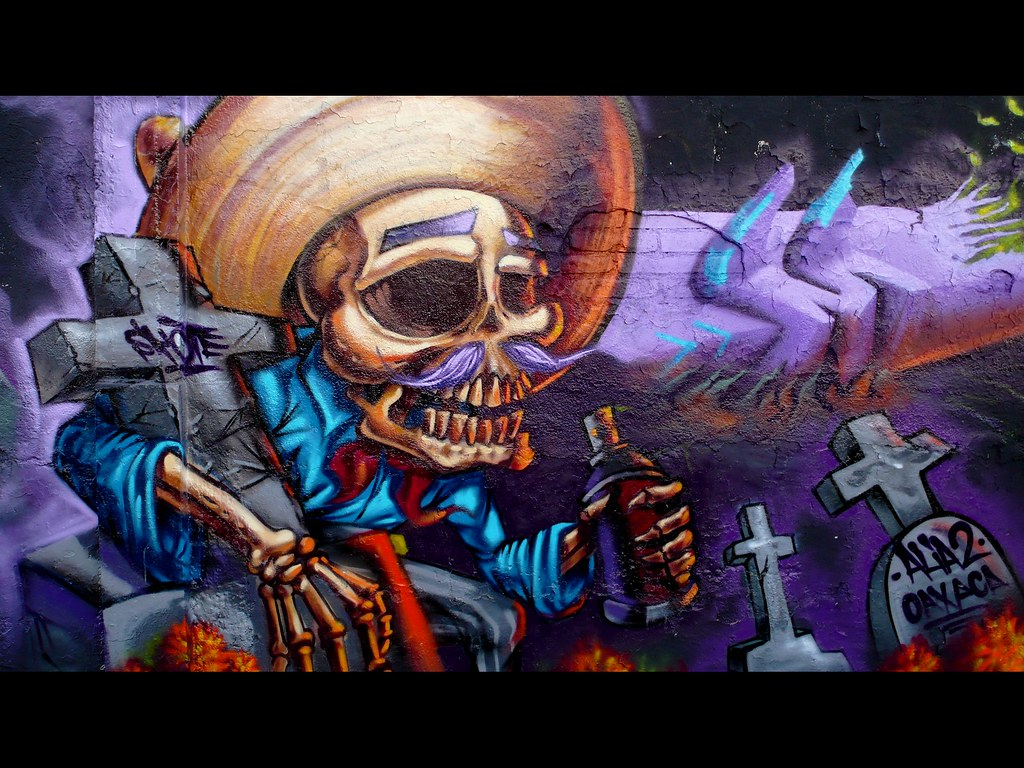 The world 39 s best photos of squelette and voyage flickr for Dia de los muertos mural