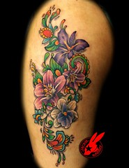 Flower Tattoo by Jackie Rabbit (Jackie rabbit Tattoos) Tags: city flowers flower cute girl tattoo star virginia cool colorful pretty good girly awesome great roanoke va henna filigree jackierabbit
