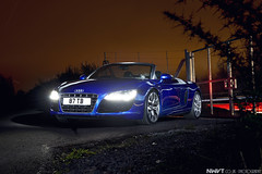 Audi R8 Spyder V10 FSI in Blue Light Painted (NWVT.co.uk) Tags: blue light kids night drive nikon long exposure painted spyder late audi supercar winters v10 d800 r8 fsi the shmee tsk nwvt shmee150