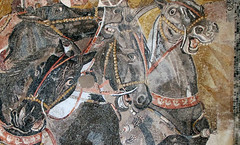Alexander Mosaic, detail with horses heads