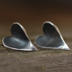 Handmade Fine Silver Heart Earrings (DML Jewellery Design) Tags: woman black love girlfriend heart handmade rustic jewelry jewellery handcrafted studs christmasgift valintine heartearrings finesilver prettywild dmljewellerydesign donnamarialynn valintinegift