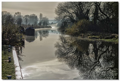 Looking back to Crofton (lovestruck.) Tags: uk trees winter light england cold reflection water misty rural grey countryside pair sony foggy fields tones 2012 crofton pumpingstation narrowboats kennetavoncanal rx100 challengeyouwinner wiltshre wiltonwater