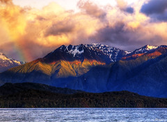 southern alps (paul bica) Tags: new morning trees light sun mist snow seascape mountains alps cold water birds clouds sunrise dark paul island early rainbow day waves shadows view south lakes southern zealand silence peaks teanau southland dex valleys fiordland bica dexxus 20121101nz010412d