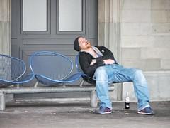 First he sleeps like a log... (The-Tall-Dude) Tags: street november station germany lumix sleep panasonic tired constance 2012 lakeconstance