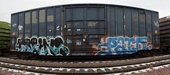 Kofins Paid (The Braindead) Tags: street panorama art minnesota train bench photography graffiti painted tracks minneapolis twin rail explore beyond uc sws btr the braindead paid cites kofins