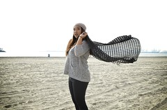 Belmont Heights Beach (ShawneeDanielle) Tags: ocean beach girl photography nikon windy fabric cloth flowingfabric windybeach beachphotography