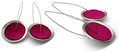 Angeles Flor Platonic earrings in fuchsia (Ans Designs) Tags: textilejewellery angelesflor aluminiumjewellery ansdesigns