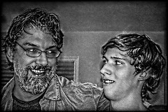 Clowning Around B&W (Chris C. Crowley) Tags: family blackandwhite men relatives fatherandson mybrotherandnephew chriscrowley celticsong22 thanksgiving2012 shawnandfraziercrowley clowningaroundbw