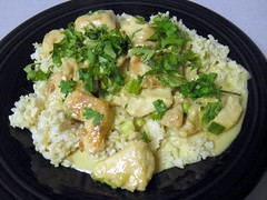 Green Curry Chicken Over Brown Rice (rabidscottsman) Tags: food green chicken t lunch ginger sauce eating curry sugar eat meal garlic soysauce hungry greenonions asianfood coconutmilk cilantro fishsauce indianfood brownrice day338 whitesugar twitter greenchickencurry scotthendersonphotography