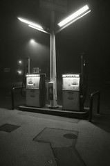 Super (frntprchprss) Tags: blackandwhite fog massachusetts gasstation southhadley blackwhitephotos fixedshadows jamesgehrt
