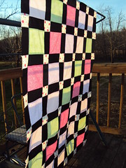 Pastel and Cherry Corners 2 (Knit Knack Patty Shack) Tags: quilt flimsy quilttop disappearingninepatch