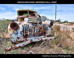 Mean Machine, Broken Hill, NSW (Stephen Kinna Photography) Tags: road old sky chevrolet abandoned car metal neglect dead photo nikon rust power desert decay neglected engine rusty australia utility pole ute forgotten american rusted nsw electricity newsouthwales outback grille wreck desolate scrub hdr highdynamicrange decayed decaying brokenhill nikond600 photoengine oloneo