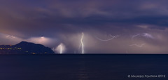 Portofino lightning storm (Maurizio Fontana) Tags: blue sea sky italy cloud storm night clouds nikon italia nuvole mare nuvola blu liguria genova cielo portofino notte d800 tempesta lightnings fulmine fulmini
