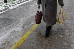Sárga csíkok közt - Between the yellow stripes (SpeNoot) Tags: street lines yellow stripes minimal step bags székesfehérvár sárga lép táskák lépés vonakal