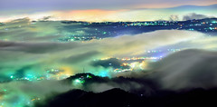 Colorful dream (Vincent_Ting) Tags: sky night clouds nightscape taiwan  taichung   crepuscularrays senset seaofclouds    rollinfarm     vincentting