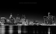 Detroit lights... (Linda Goodhue) Tags: longexposure blackandwhite skyline cityscape highcontrast detroitriver detroitmichigan windsorontario internationalborder bordercity lindagoodhuephotography