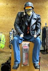 Mannequin At Kenly 95. (dccradio) Tags: kenly nc northcarolina kenly95 travelplaza truckstop skeleton statue mannequin helmet leatherjacket jeans bluejeans denim boots goggles