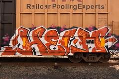 HELM (TheGraffitiHunters) Tags: graffiti graff spray paint street art colorful freight train tracks benching benched helm boxcar