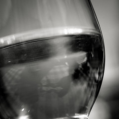 look into the past (Super G) Tags: nikon287 bw blackandwhite crystalball wine glass reflection bokeh curves gazing look