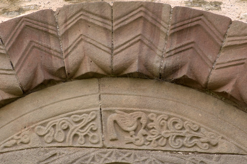 Pipe Aston, Herefordshire, St. Giles's church, north door, tympanum, detail
