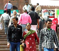 Jama Masjid visitors (bokage) Tags: woman india man delhi muslim islam mosque pilgrim jamamasjid olddelhi