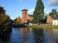 Whittington Church (Lydie's) Tags: trees clock church water pond village ducks redbrick whittington englishness