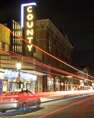Moonrise Kingdom ( estatik ) Tags: county street cars car st night lights stream long exposure theater state theatre pennsylvania tail trails kingdom pa moonrise doylestown