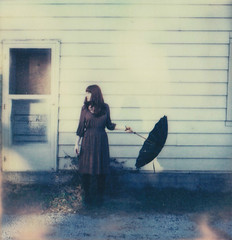 * (Lisa Toboz) Tags: door selfportrait abandoned umbrella polaroid alley whitehouse expired slr680 rivertown rustbelt nevilleisland utatafeature colorshade impossibleproject px680