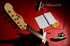 guitar, red background, spotlight 3 (bluehiker) Tags: shadow red white black electric contrast studio nikon shoes guitar spotlight learning yamaha stark pacifica 2012 nikond7000