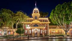 Disneyland City Hall (Justin in SD) Tags: building architecture night canon dark stars lights mainstreet cityhall disneyland disney late canon5d hdr themepark mainstreetusa disneylandresort guestrelations canon5dmarkiii 5d3 5dmark3