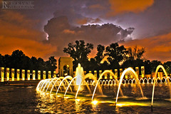 World War II Memorial with Lightning