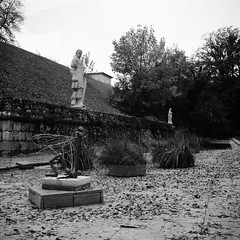Moat (lennox_mcdough) Tags: park autumn bw sculpture plant tree castle art 120 mamiya film reed water grass leaves statue wall analog mediumformat austria österreich hill dry mamiya6 rodinal graz negativescan moat ilford firefly steiermark stadtpark styria asa50 a90 oesterreich panf rollfilm iso50 panfplus panf50 panfplus50 mamiyag75mmf35l canoscan9000f takenin2012