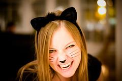 Meeeow! (Bjrnert) Tags: portrait woman silly halloween cat blackcat fun costume scary feline funny kitty dressup ears halloweencostume spooky whiskers purr meow fangs cateyes roar victoriabc hiss catcostume kittycostume catmakeup costumemakeup halloweenportrait blackcatcostume