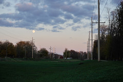 ottawa moonway (dalioPhoto) Tags: sunset sky moon horizontal clouds digital evening illinois nikon dusk ottawa fullmoon powerlines greenway d700 daliophoto marcdalioall