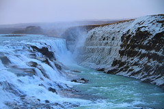 The Amazing Gullfoss Waterfall in Iceland (` Toshio ') Tags: winter cold green ice nature water iceland europe european freezing canyon spray gullfoss goldenfalls toshio hvítáriver gullfosswaterfall southwesticeland