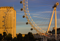 Eye-pod projection (snowyturner) Tags: sunset building westminster wheel thames river evening shadows spokes shell londoneye southbank hungerford rotation lambeth pods