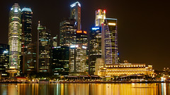 Stay Over at Marina Bay Sands - Central Business District at Night (2012:011) (Moonie's World) Tags: hotel singapore casino cbd centralbusinessdistrict marinabay nolens thefullertonhotel marinabaysands