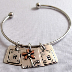 Custom Initial Charm Bracelet with flower charm (Nina Gibson) Tags: flower handmade jewelry bracelet copper custom sterlingsilver initialcharm
