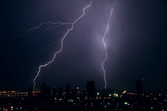 Thunderstorm 9 (Gaby.Bernstein) Tags: sky storm rain skyline night clouds buildings gaby thunderstorm lightning bernstein thunderbolt thunderbolts lightnings bernsteingaby gabybernstein