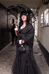 7D0047 Lady in black dress & black parrasol - Whitby Goth Weekend 3rd Nov 2012 (gemini2546) Tags: nov goth week 3rd black 2470  canon sigma dress hair 7d lens whitby 2012 lady victorian parrasol