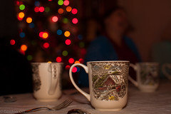 Effervescence After Dinner (GRO Photography) Tags: dinner table mugs bokeh decoration christmastree cups laughter christmastime effervescence