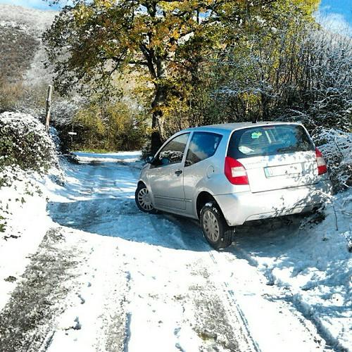 Ho fatto un po' troppa retromarcia?!? #neve #Norcia