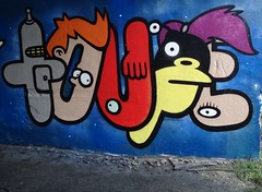 Planet Express (mr_la_rue) Tags: street uk winter streetart colour art abandoned fun graffiti fry colours character graf spray gateshead planet futurama characters express zoidberg graff bender aerosol leela 2012 nibbler toupe