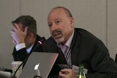 Steven Cherry of TTI/Vanguard listens in to Rodolphe Gelin's presentation (ttivanguard) Tags: usa ny brooklynnewyork ttivanguard eventphotographernewyork jeffreyholmesphotography newyorkcorporatephotographer thenewknow autonomyconference
