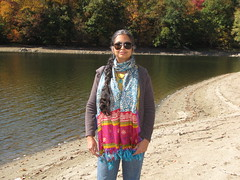Dutchess County, NY-15.01 (davidmagier) Tags: portrait usa newyork sunglasses lakes jewelry fallfoliage ponytail brewster scarves aruna