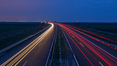 (Botond Pataki) Tags: transportation travel blue hour view black winter light white night red lights lamps motion blur long exposure highway road tarmac sky traffic cars yellow