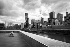 Pause for reflection - Melbourne Australia (Keystone Photography) Tags: repacholi keystone leicam240 melbourne victoria australia urbanlife candid street lines perspective blackandwhite clouds dramatic sky bridge skyline reflection timeout