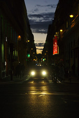 Street of Paris (2) (pieceyen) Tags: travel france paris gallerieslafayette lafayette street streetphotography night twilight colorful colors lights car