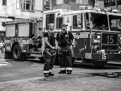 Respite (C@mera M@n) Tags: blackandwhite newyorkcityphotography engine15 newyork outdoor continentalbankbuildingfireaugust92016 ny firefighter newyorkphotography photojournalism monochrome wallstreet nyc newyorkcity financialdistrict fdny firefighters candidpeople candid places firedepartment unitedstates us